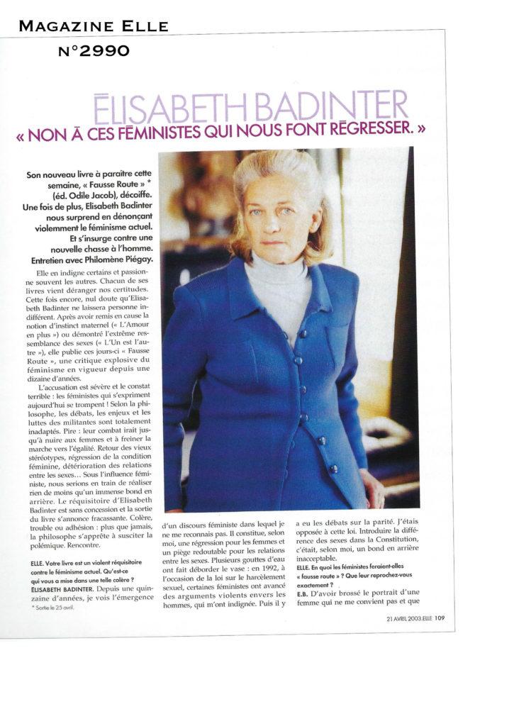 Magazine Elle Elisabeth Badinter Feminisme